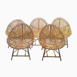 Chaises en Forme d'Oeuf en Rotin, Italie, 1950s, Set de 5