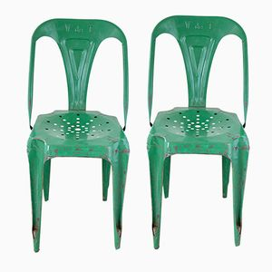 Green Metal Chairs by Joseph Mathieu for Multipl's, Set of 2