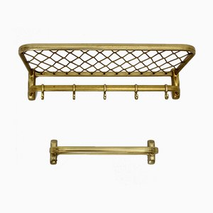 Italian Gold-Colored Anodized Aluminium Coat Rack, 1960s