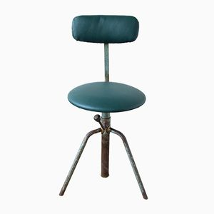 Vintage Industrial Swivel Chair with Green Skai Leather