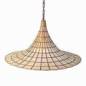 Lampe à Suspension en Nacre et Laiton, 1970s