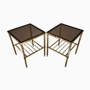 Large French Brass Side Tables, 1970s, Set of 2