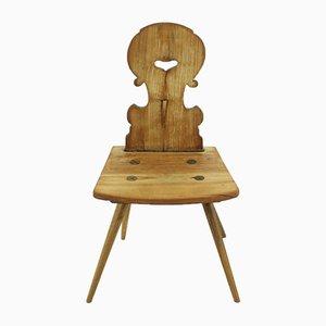 Chaise Antique de Ferme en Noyer avec Bords Décorés, 1850s