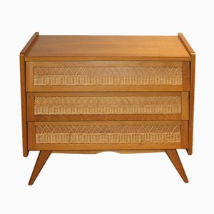 French Oak Veneer and Rattan Chest of Drawers