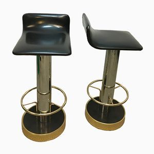 Vintage Steel and Brass Bar Stools, 1970s, Set of 2