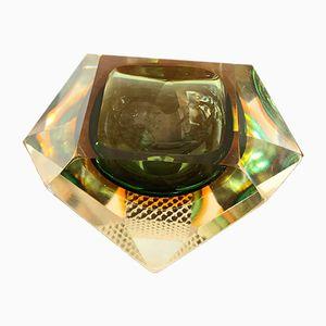 Green and Yellow Murano Glass Ashtray, 1960s