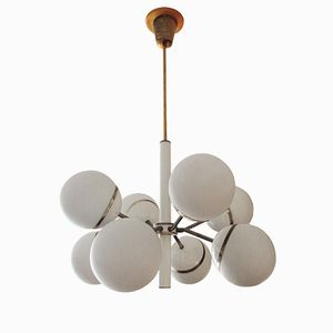 Mid-Century Sputnik Chandelier in Brass and Glass, 1950s