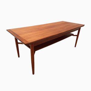 Mid-Century Scandinavian Teak Extending Coffee Table with Shelf, 1960s