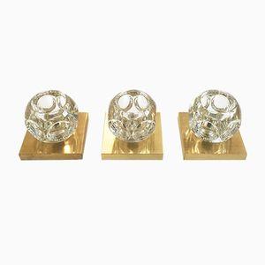 Modernist German Brass & Glass Sconces from Peill & Putzler, 1970s, Set of 3