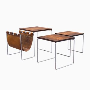 Mid-Century Rosewood Nesting Tables with Leather Magazine Holder from Brabantia