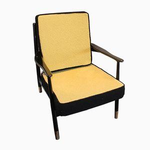 Vintage Armlehnstuhl mit Füßen aus Messing, 1960er