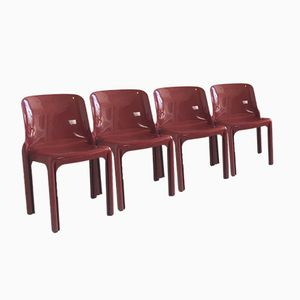 Mid-Century Selene Chairs by Vico Magistretti for Artemide, Set of 4