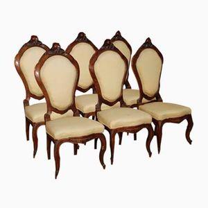 Sicilian Walnut Chairs, 1870s, Set of 6