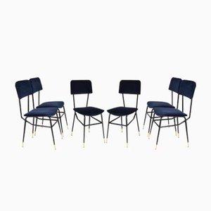 Velvet Dining Chairs, 1950s, Set of 6
