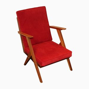 Vintage Armchair in Red, 1950s