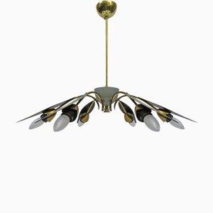 Italienische Sputnik Deckenlampe mit Sechs Leuchten, 1950er