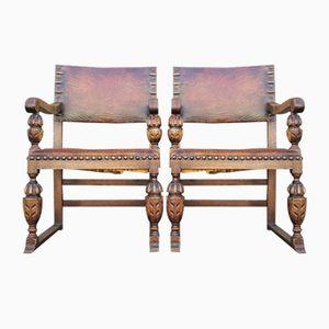 Antique Spanish Armchairs, Set of 2