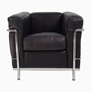 Vintage LC2 Black Leather Armchair by Le Corbusier for Cassina