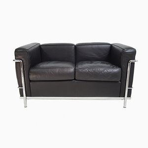 Vintage LC2 Black Leather Sofa by Le Corbusier for Cassina