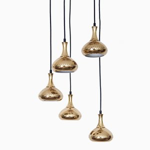 Brass Pendant Lamps with Ceiling Roses by Hans-Agne Jakobsson for Markaryd AB, 1960s, Set of 5