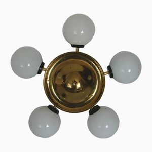 Space Age Ceiling Lamp in Brass and Glass, 1960s