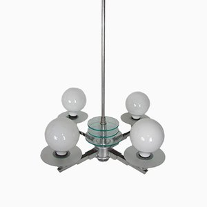 Bauhaus Polished Aluminum Chandelier, 1930s