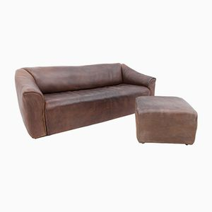 DS 47 Leather Sofa With Ottoman from de Sede, 1970s
