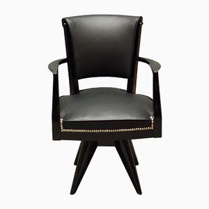 Chaise de Bureau Art Déco en Bois Laqué & Cuir, 1930s