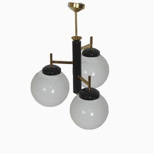 Modernist Ceiling Lamp in Brass, Steel, and Glass, 1960s