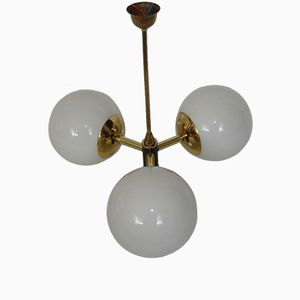 Mid-Century Modern Chandelier with 3 Opaline Glass Bowls, 1960s