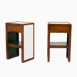 Vintage Green White and Wood Nightstands by André Sornay for Sornay Company, 1950s, Set of 2