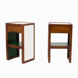 Vintage Holz Nachttische in Grün und Weiß von André Sornay für Sornay Company, 1950er, 2er Set