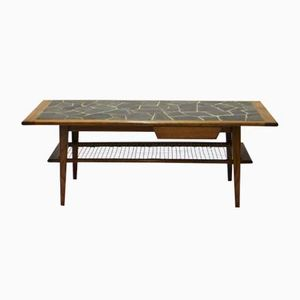 Vintage Teak Coffee Table with Slate Mosaic, 1960s