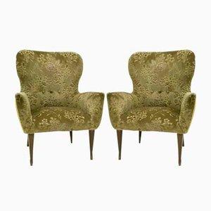 Vintage Italian Green Velvet Armchairs, 1950s, Set of 2