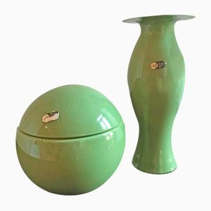 Green Centerpiece Box and Vase by Carlo Nason for Mazzega, 1970s
