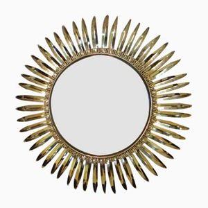 Vintage Brass Sun Burst Convex Mirror