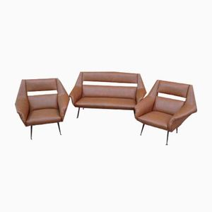 Mid-Century Italian Brown Leather and Brass Sofa and 2 Armchairs by Gio Ponti, Set of 3