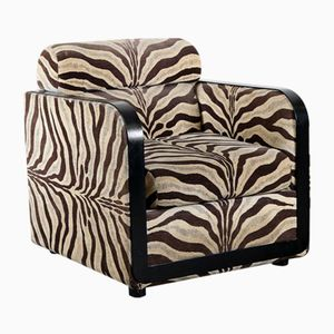 Mid-Century Zebra Print Club Chair