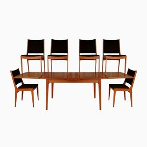 Mid-Century Dining Table with 6 Chairs by Johannes Andersen for Uldum Møbelfabrik, Set of 7