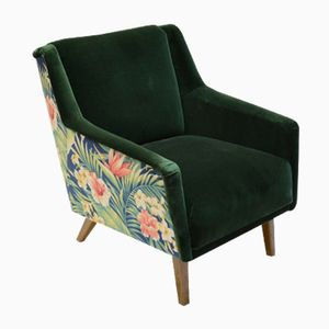 Mid-Century Dark Green Velvet Armchair with Tropical Decor