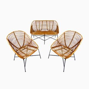 Mid-Century Rattan & Steel Lounge Set