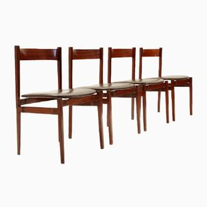 Model 107 Rosewood Chairs by Gianfranco Frattini for Bernini, 1960s, Set of 4