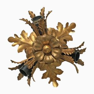 Vintage Gilt Iron Ceiling Lamp with Flowers and Leaves, 1960s
