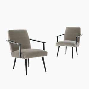 Mid-Century Velvet and Black Lacquer Armchairs, 1950s, Set of 2