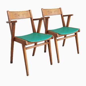 Chaises de Café Mid-Century en Hêtre, Belgique, 1960s, Set de 2