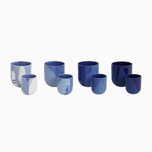 Sum Tassen in Blauem Lack, 4er Set