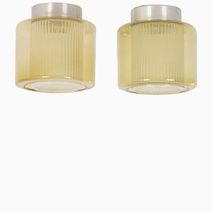 B-1264 Ceiling Lamps with Amber-Yellow Glass Shades from Raak, 1970s, Set of 2