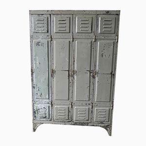 Vintage Industrial Steel Locker with 4 Doors