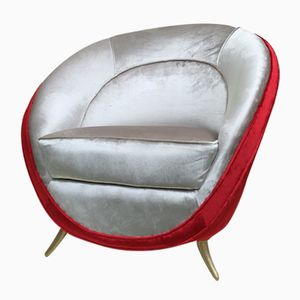 Silver and Red Lounge Chair by Guglielmo Veronesi for ISA Bergamo, 1950s