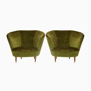 Velvet Armchairs, 1940s, Set of 2
